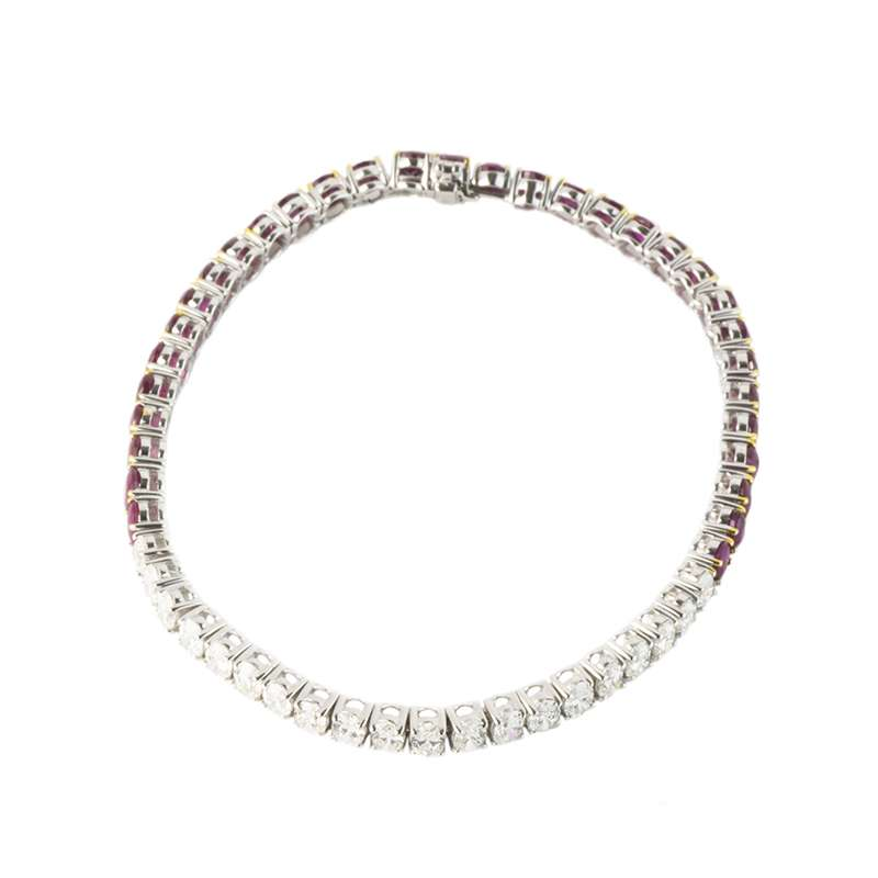 18k White Gold Ruby and Diamond Line Bracelet
